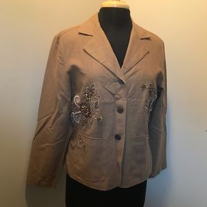 Coldwater Creek Tan Jacket with beading Sz PM